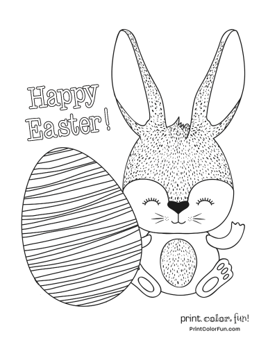 Happy Easter from a cute bunny with one big egg