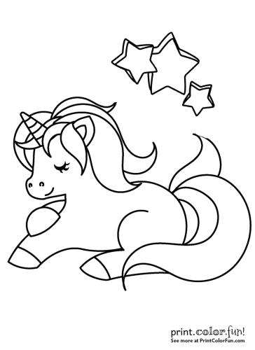 Happy unicorn with stars
