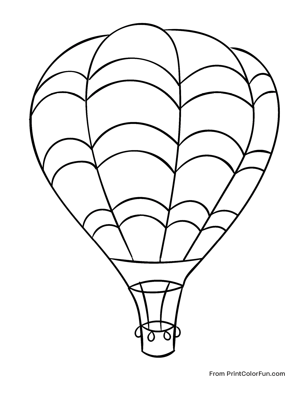Huge Hot Air Balloon Flying In The Sky Coloring Page
