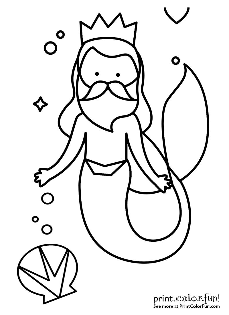 Little Mermaid King Triton Coloring