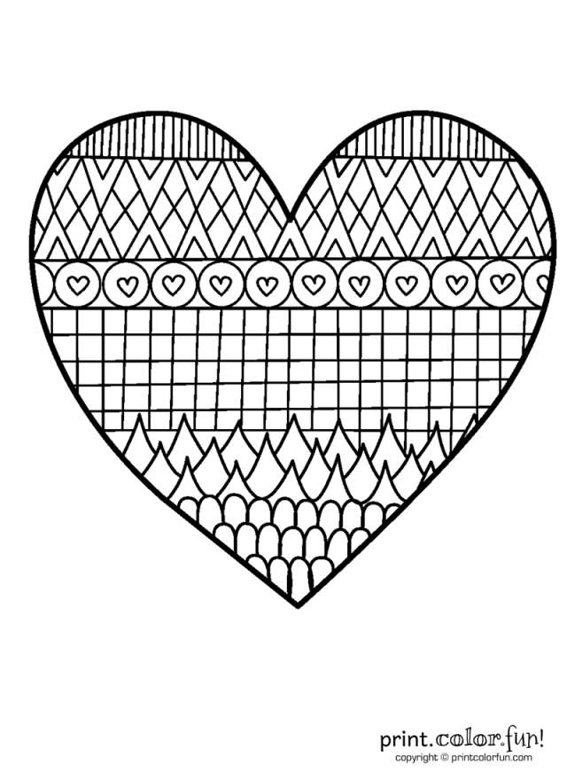 Patterned heart coloring page - Print Color Fun!