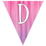 Pink-purple striped party decoration flags with white letters 4