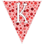 Red polka dots with white letters 11