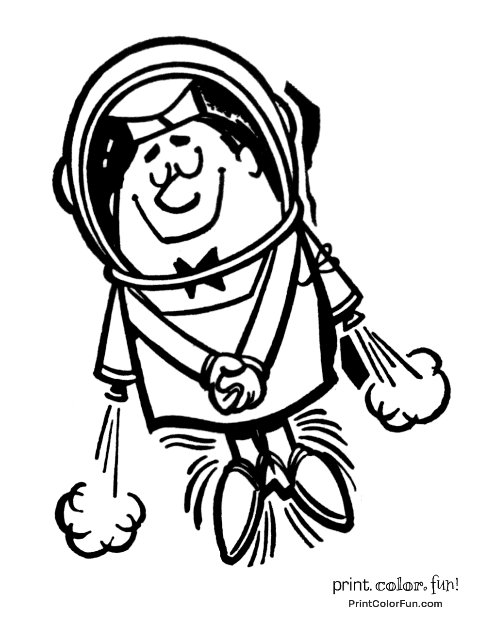retro rocket man astronaut coloring page print color fun