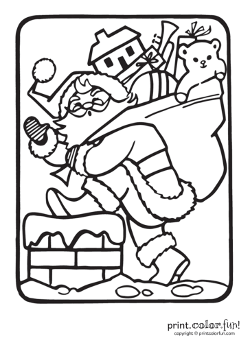 Santa-going-into-chimney---Christmas