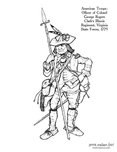 Soldiers of the American Revolution coloring pages: 11
