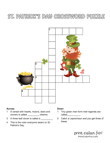 St Patrick's Day crossword puzzle for kids (2)