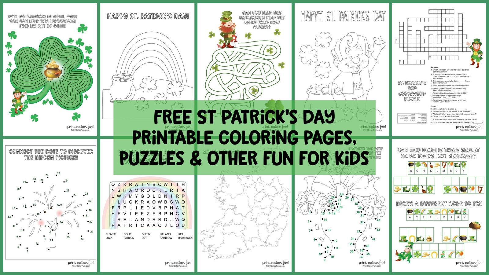 14 Free St Patrick S Day Printable Coloring Pages Puzzles