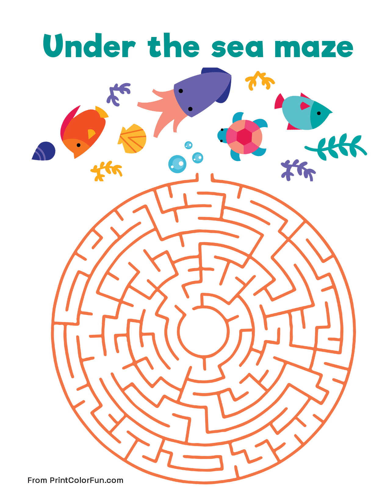 Under the sea maze Medium level coloring page Print