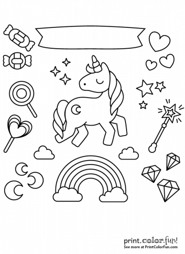 Unicorn with rainbow, stars and candy coloring page
