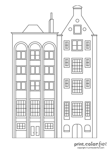 building coloring pages Stylish apartment buildings coloring page   Print. Color. Fun! building coloring pages