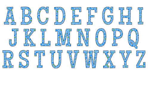 Blue polka dot alphabet