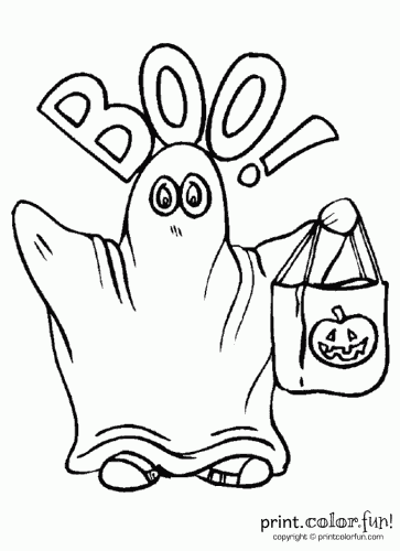ghost  a candy bag coloring page  print. color. fun!