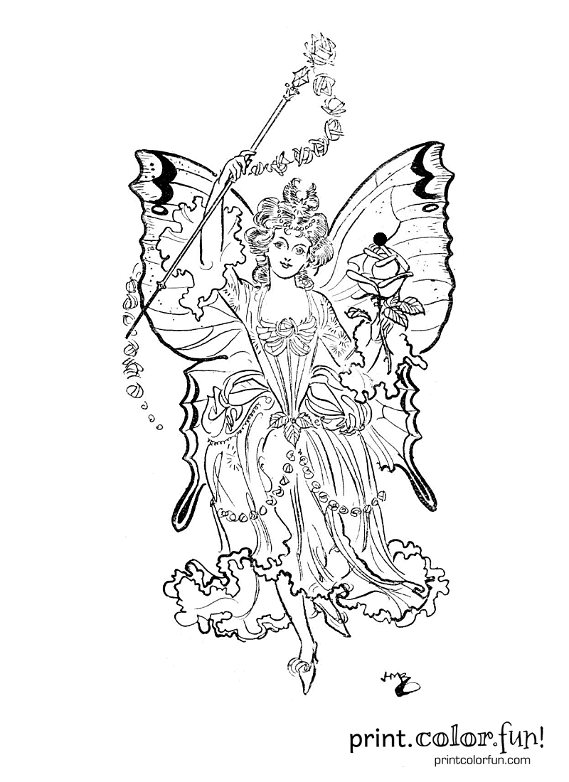 fairy princess coloring page print color fun. Black Bedroom Furniture Sets. Home Design Ideas