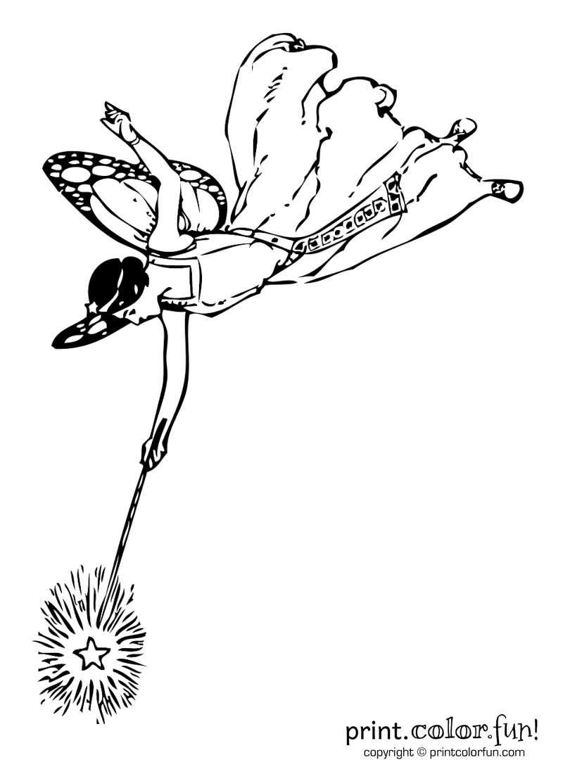 Fairy with a wand coloring page