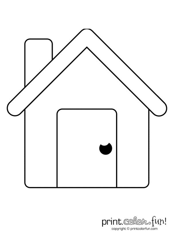 Simple house coloring page Print Color Fun!