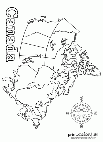 Free coloring pages of map of canada