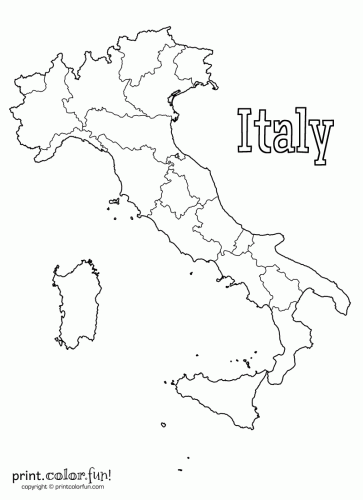 blank map of italy coloring page  print. color. fun!