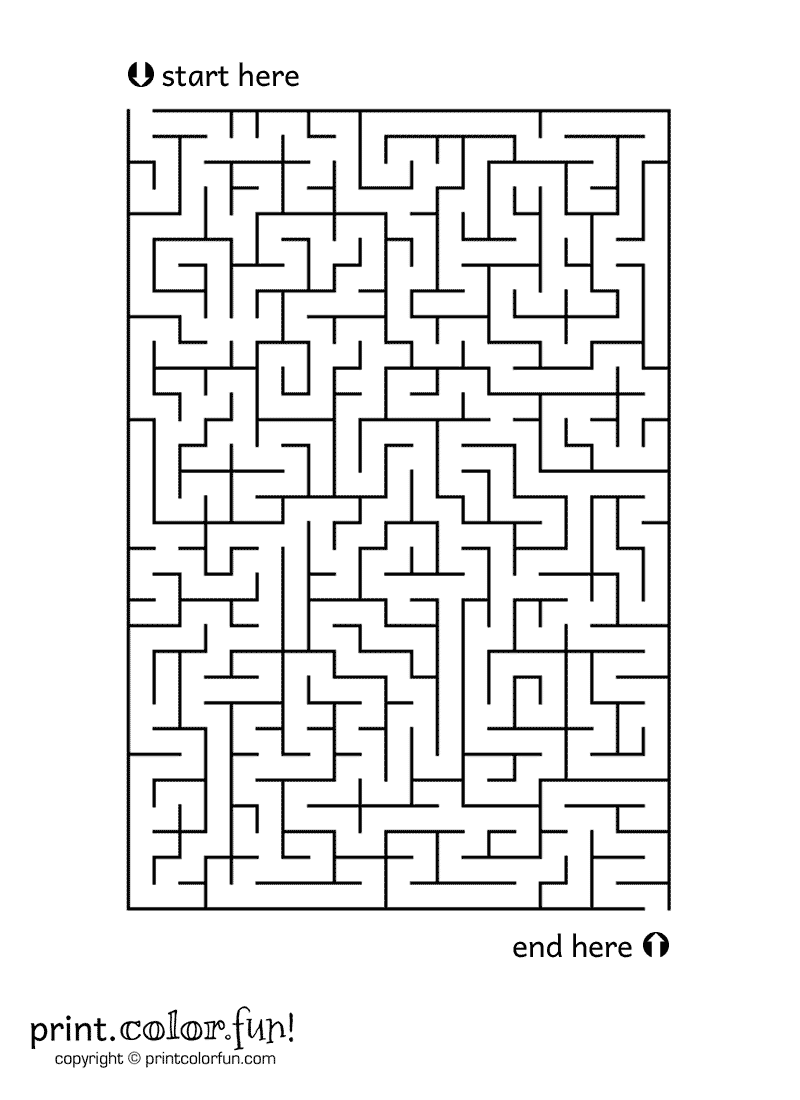 Medium Size Maze Coloring Page Print Color Fun
