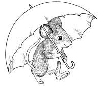 Mouse with an umbrella