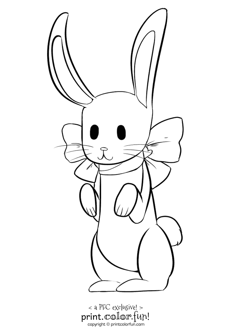 Rabbit with a bow coloring page print color fun for Jack rabbit coloring page
