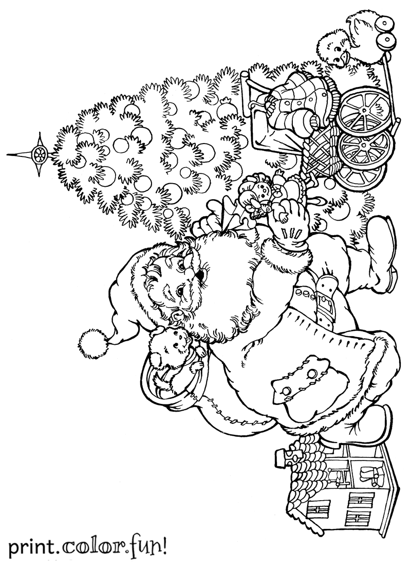 Santa putting presents under the Christmas tree coloring
