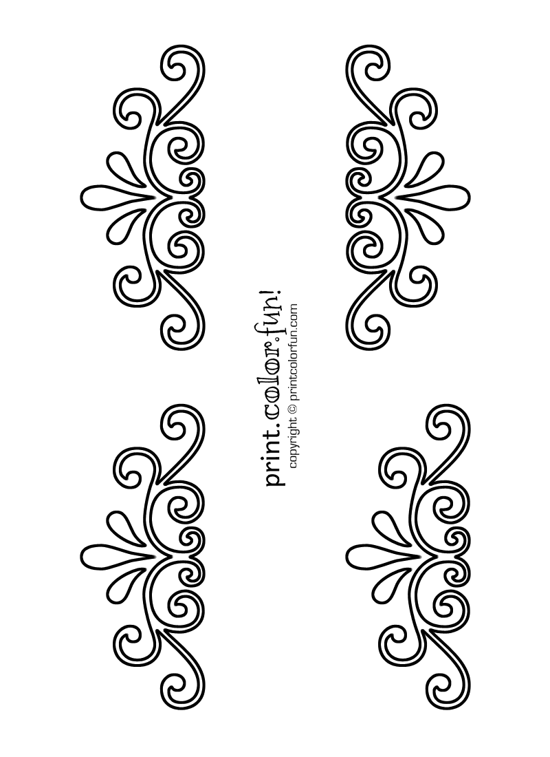 Swirl and flourish stencils coloring page Print Color Fun