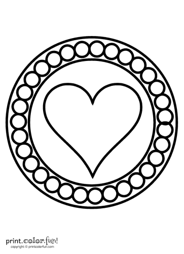 Valentine Circles Coloring Page Print Color Fun