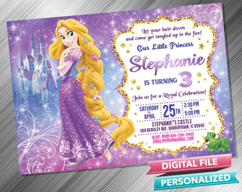princess rapunzel invitation