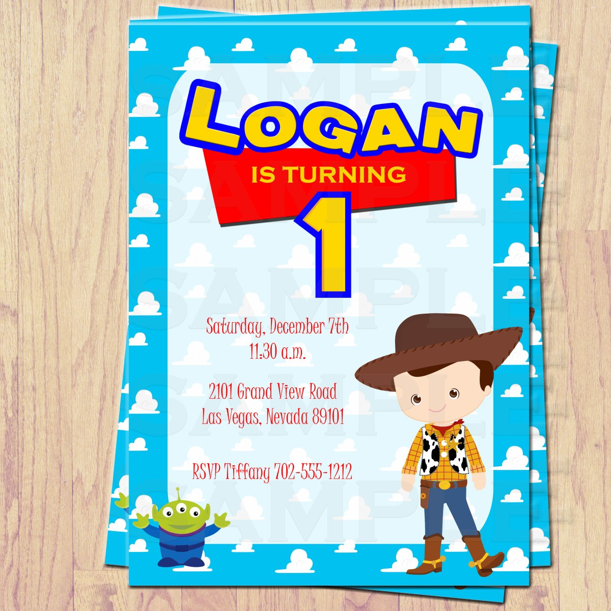 Toy Story Inspired Invitations Placemats Thank You Cards