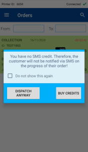 (STEP 4) - Buy SMS Credits - Dispatch Orders with PrinterCo
