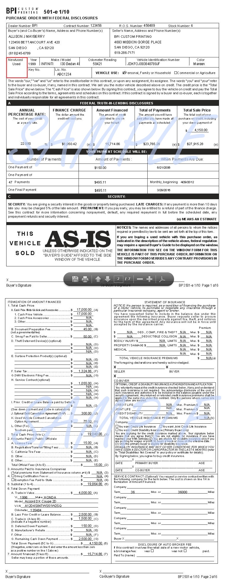 View, Purchase Order With Federal Disclosures