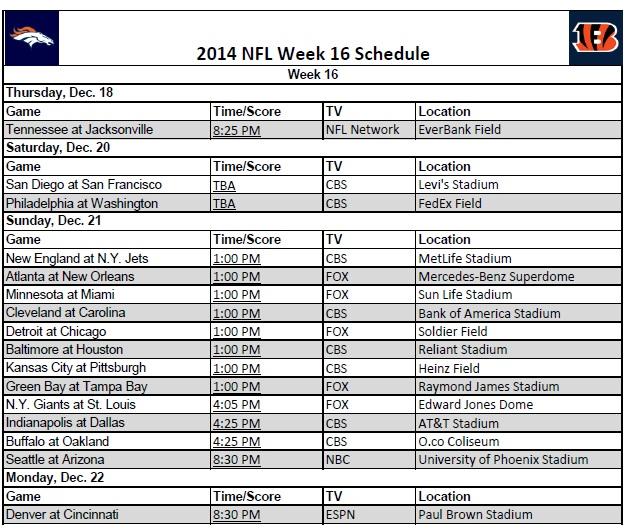2014 NFL Week 16 Schedule