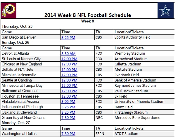 2014 NFL Week 8 Schedule