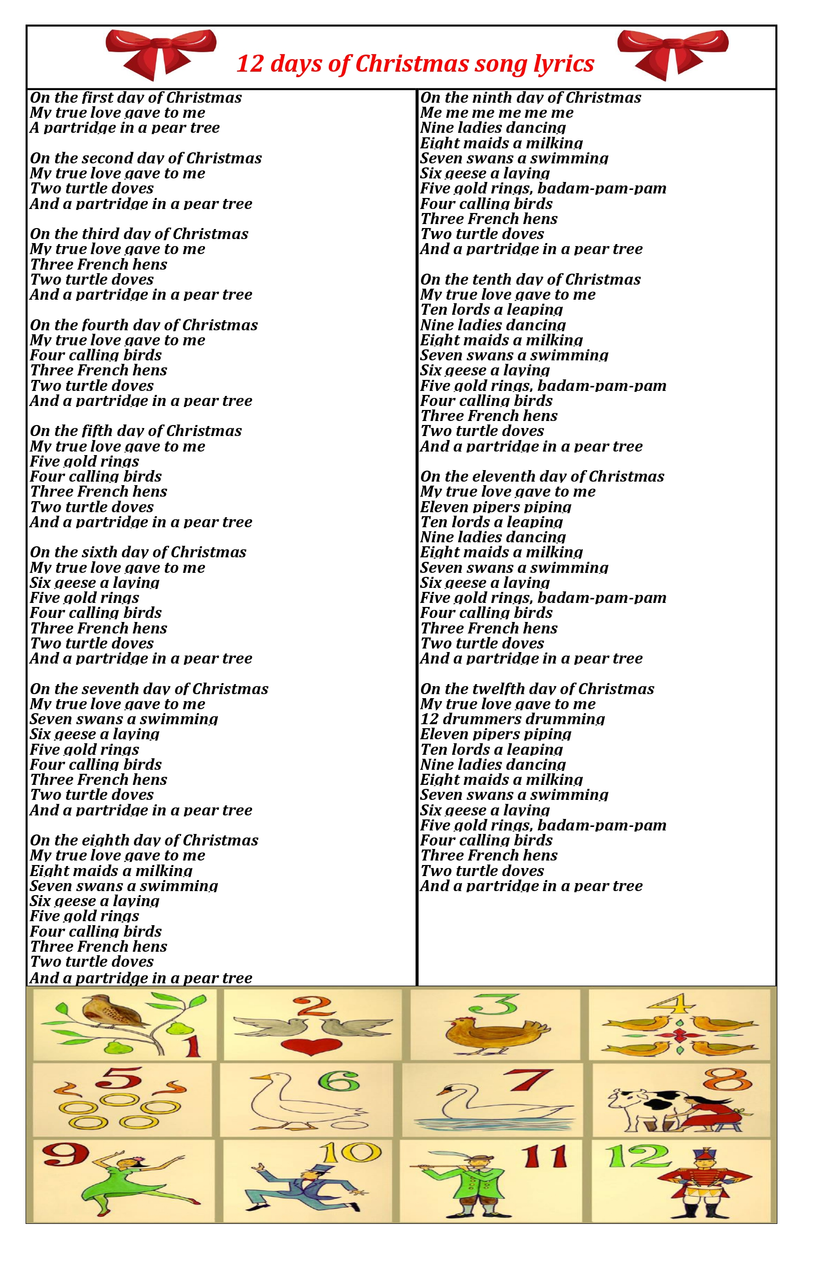 12 days of christmas lyrics PDF