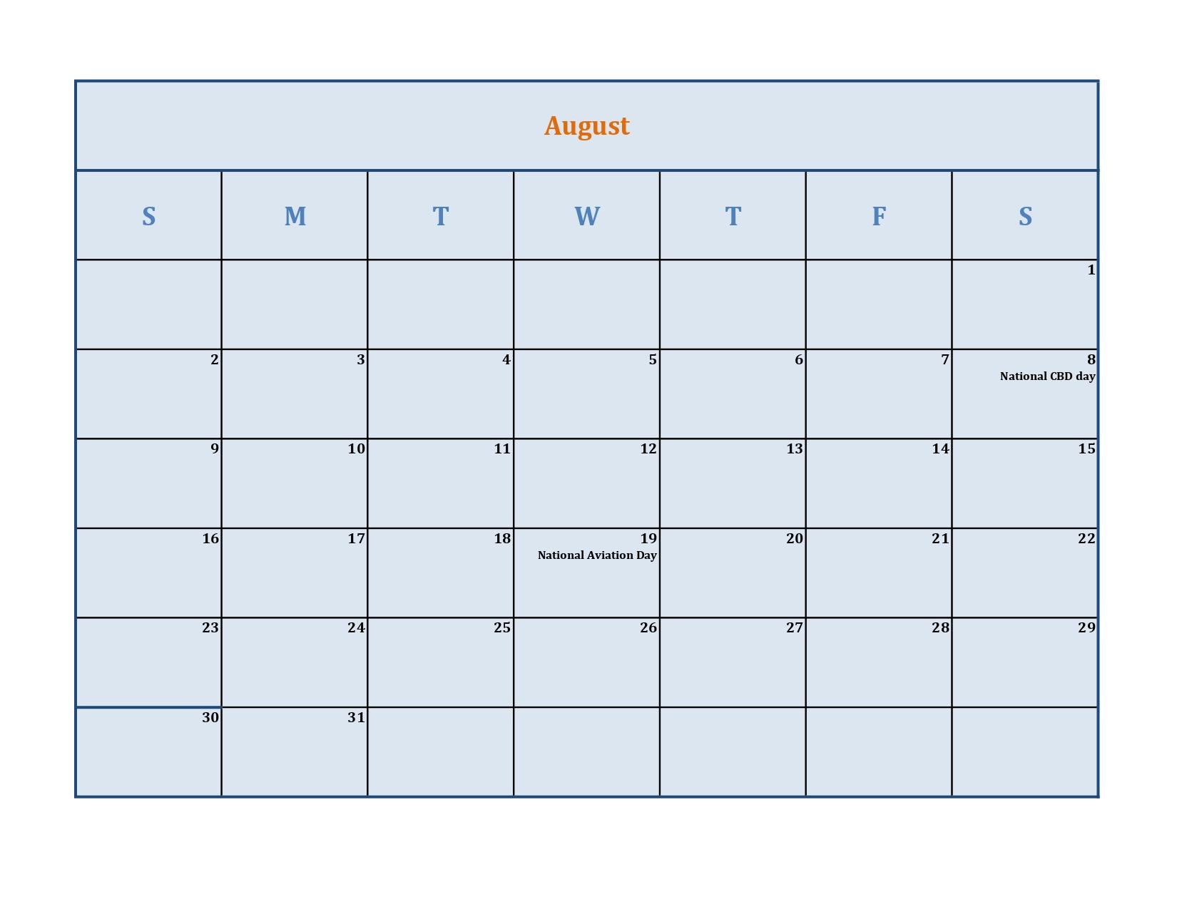 August calendar with holidays