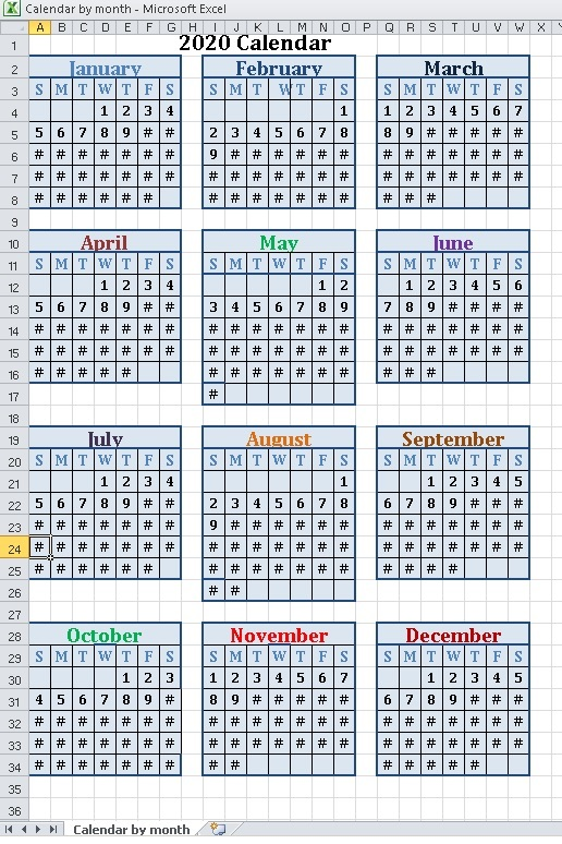 Calendar by month excel