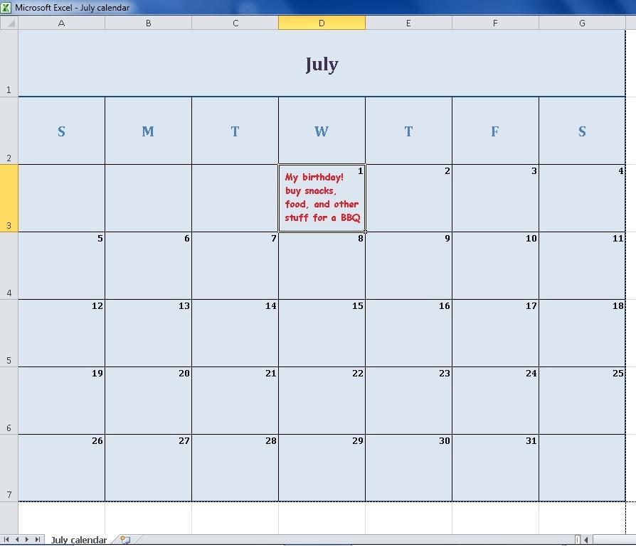 july 2020 calendar in excel