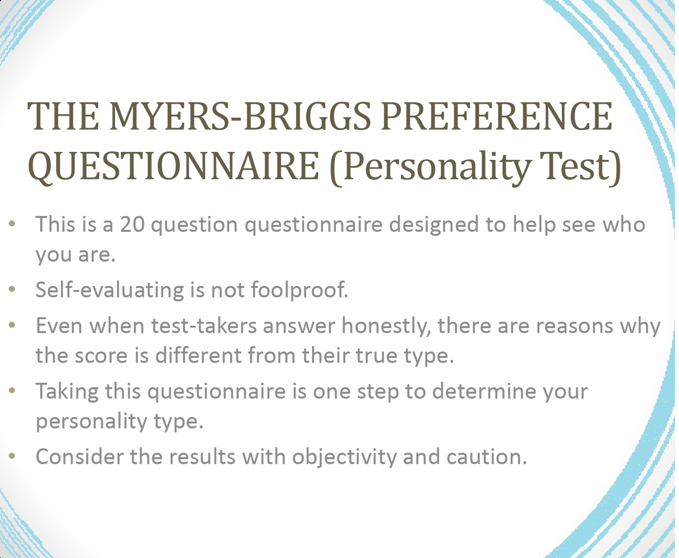 Myers-Briggs test in PDF