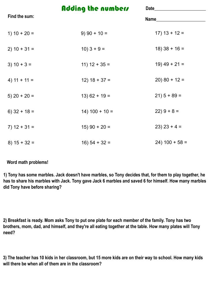 1st grade worksheet addition