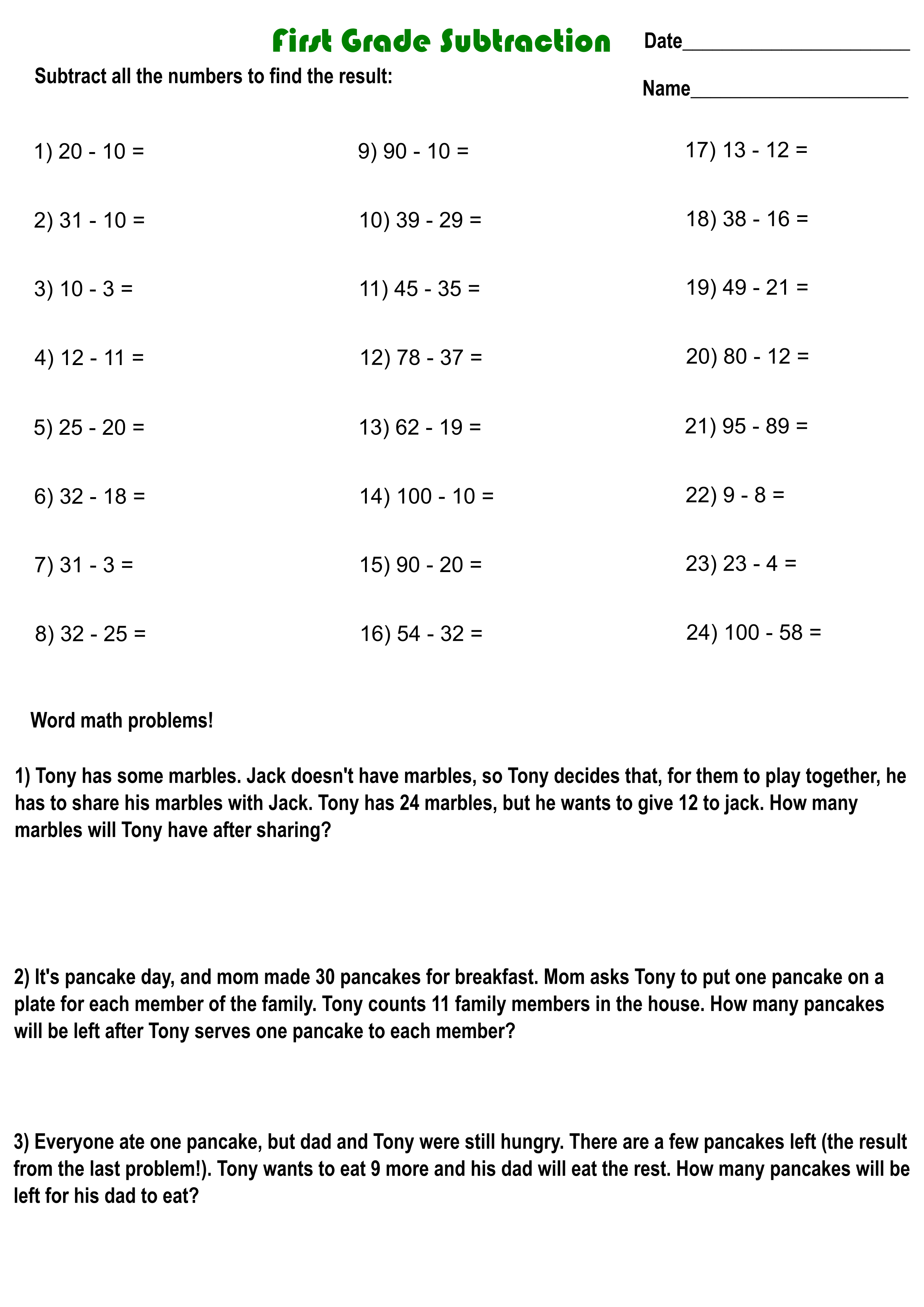 small resolution of Printable 1st grade math worksheets with answer sheet (PDF) -  Printerfriend.ly