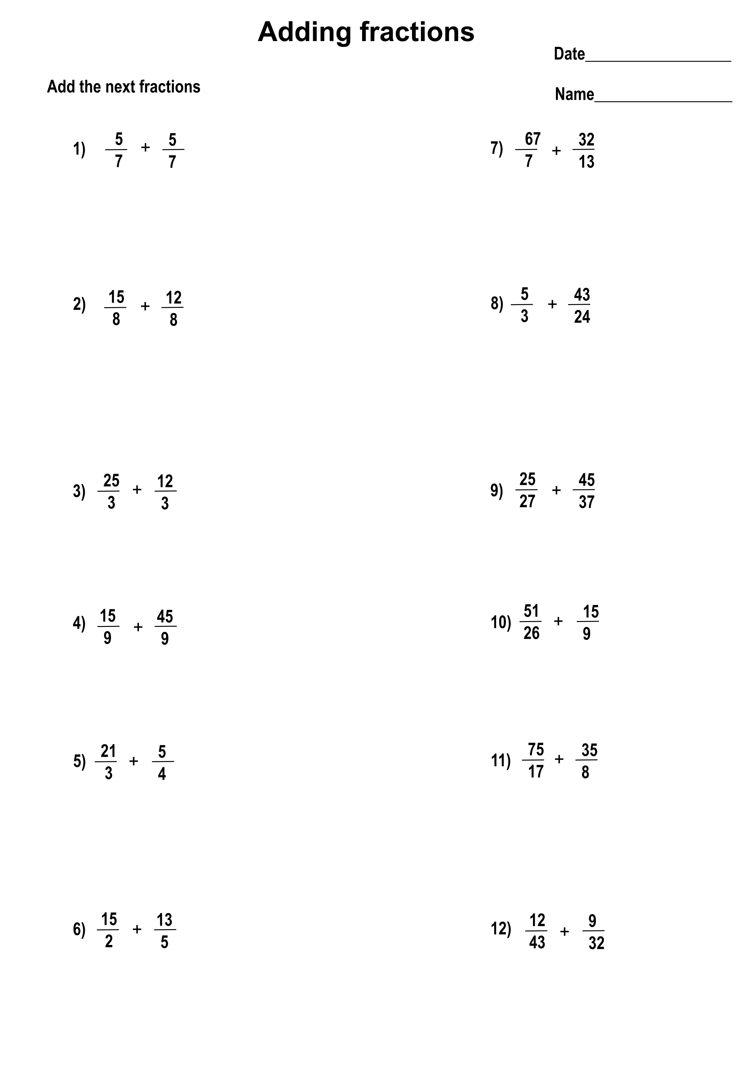 small resolution of Printable addition fractions worksheets with answers - Printerfriend.ly