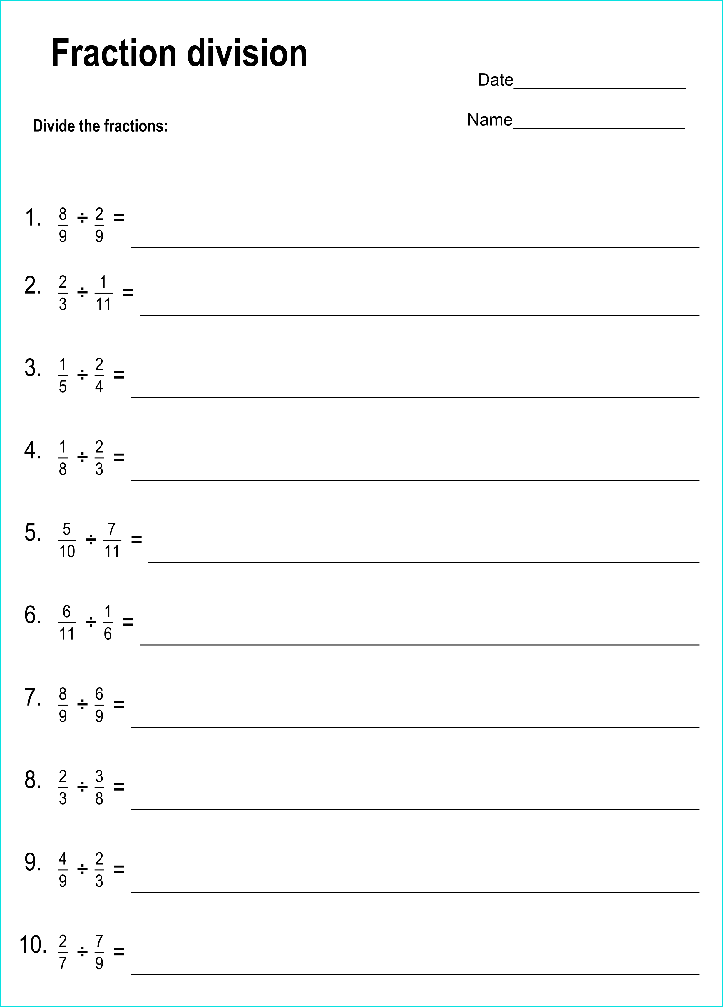 small resolution of Printable dividing fractions worksheets with answers (PDF) -  Printerfriend.ly