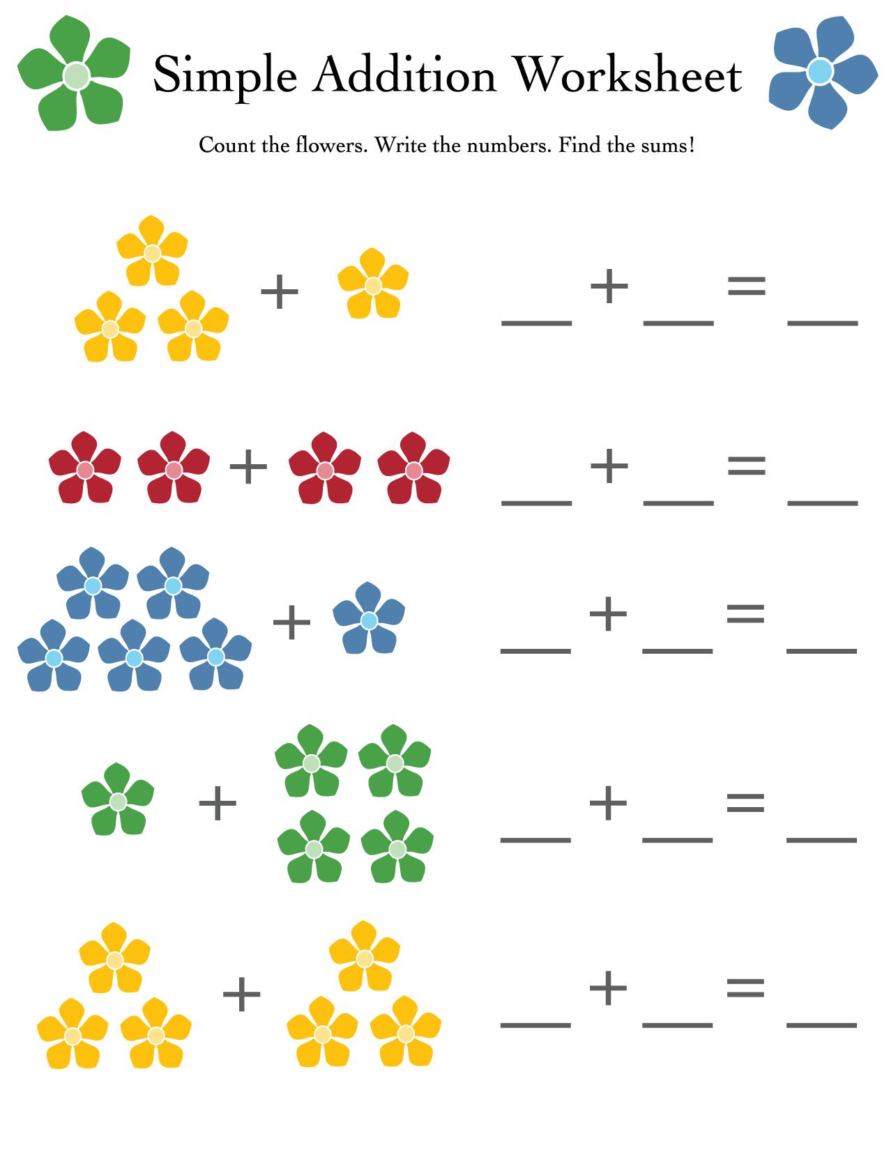 Simple addition worksheet
