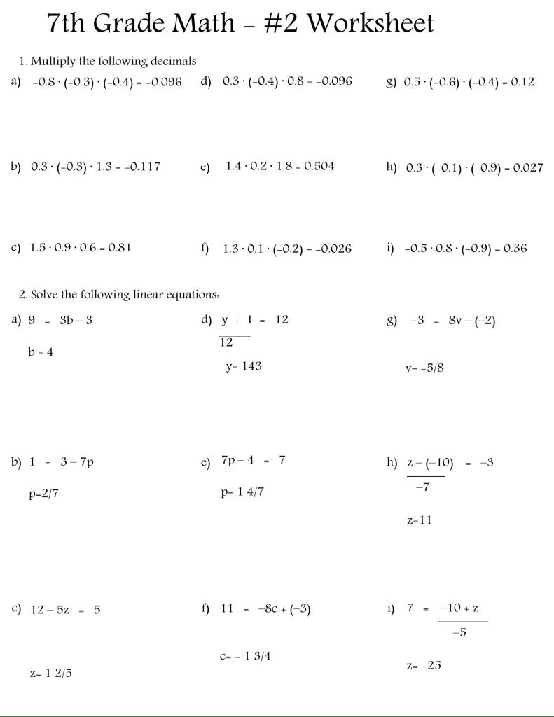 7th grade math worksheets