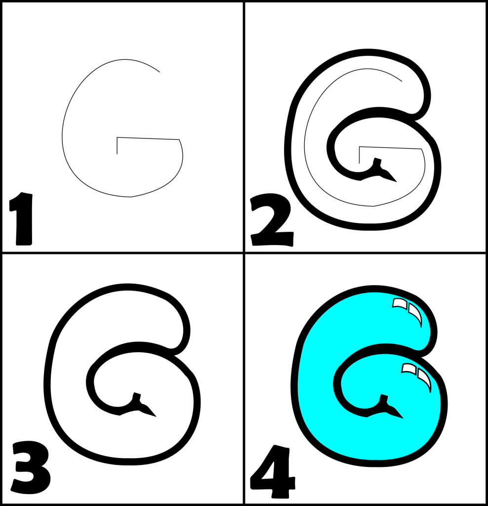 bubble letter G how to draw it