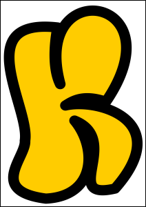 bubble letter k yellow