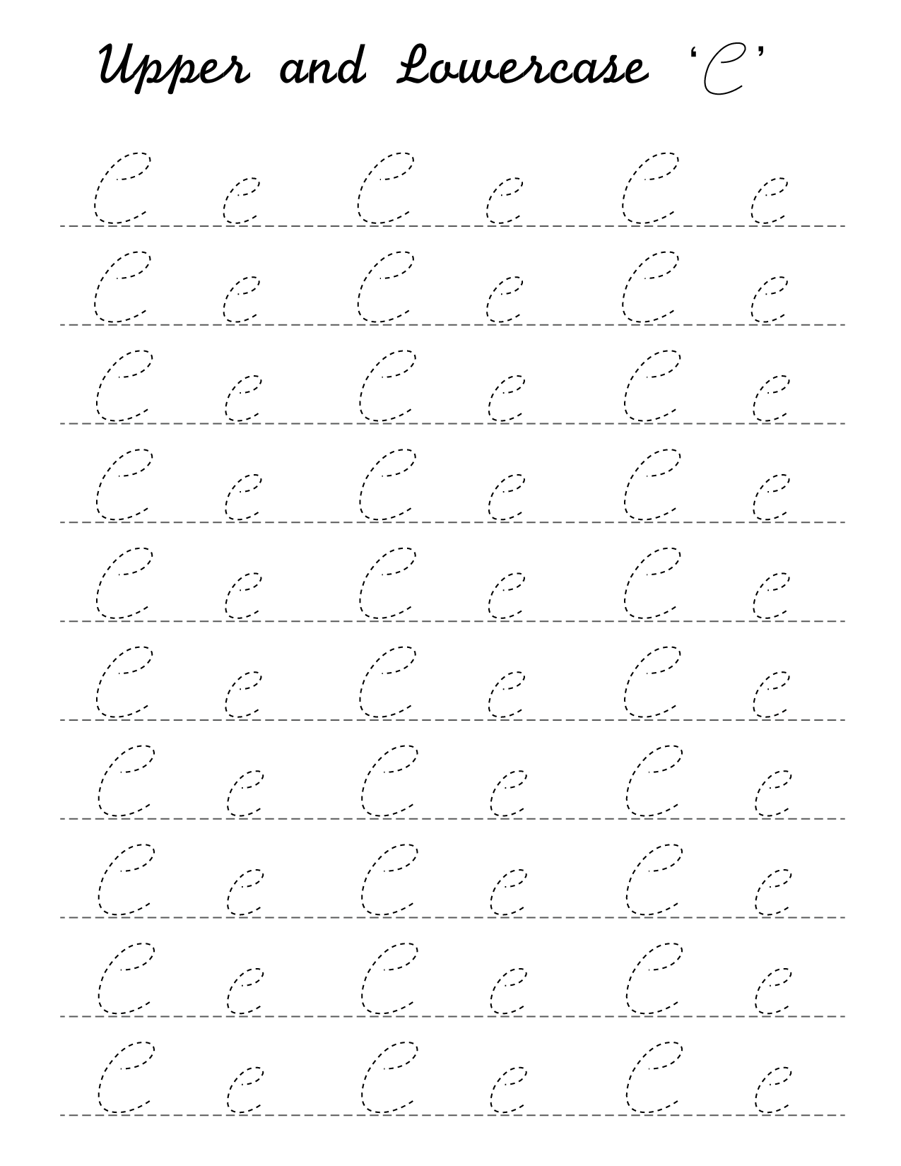 Cursive 'C' worksheet