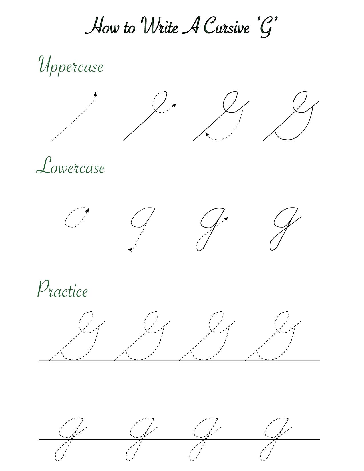 writing a cursive 'G'