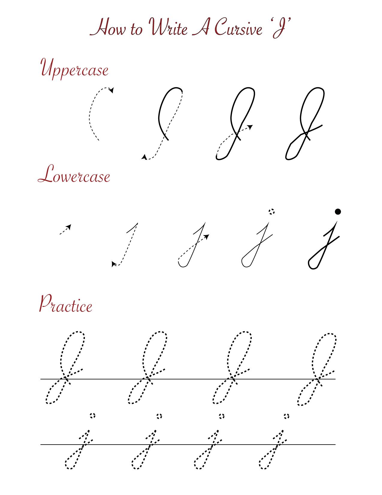 how to write a cursive J